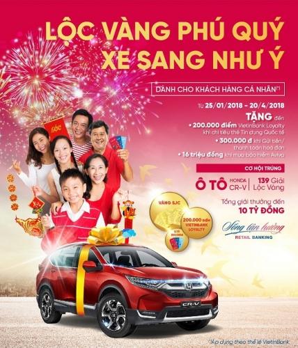 Cơ hội trúng ô tô Honda CR-V và 139 giải Lộc vàng cùng VietinBank