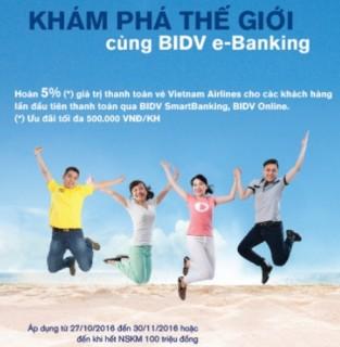 Hoàn tiền ngay khi thanh toán vé máy bay qua e-Banking của BIDV
