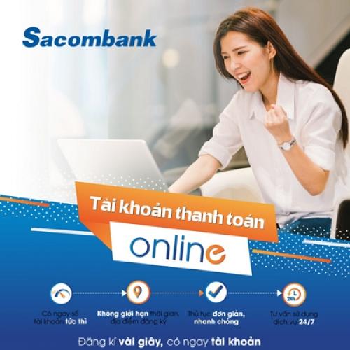Mở tài khoản ngay trên website Sacombank