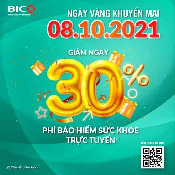 BIC giảm 30% phí bảo hiểm sức khỏe trực tuyến