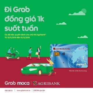 Đi Grab giá 1k suốt tuần cùng thẻ Agribank